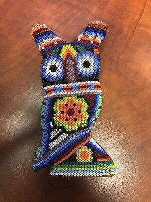 Multi-Colored Owl Figurine - Cork Base With Beads - Pre-Owned