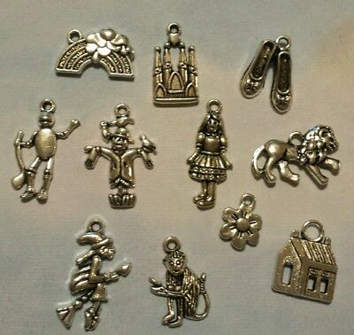 11pc The Wizard of Oz Inspired Charms Pendant Lot Set Collection Antique Silver