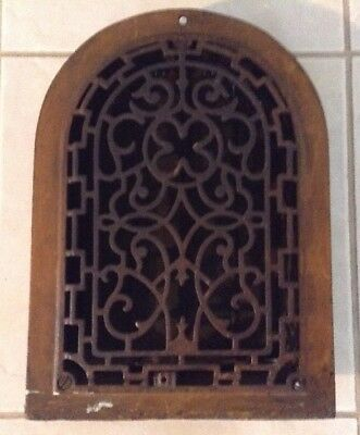 Antique Cast Iron Arch Top Decorative Dome Heat Grate Register w/ Louvers 8x12