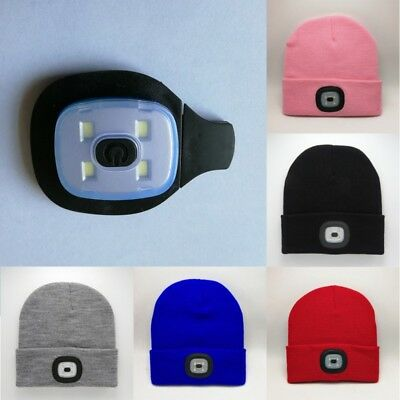 for Hunting Camping Running Fishing 4 LED Light Knit Cap Beanie-Hat USB Recharge