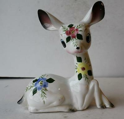 Arnart Creations Large Deer Figurine with Hand Painted Flowers Ceramic-Porcelain