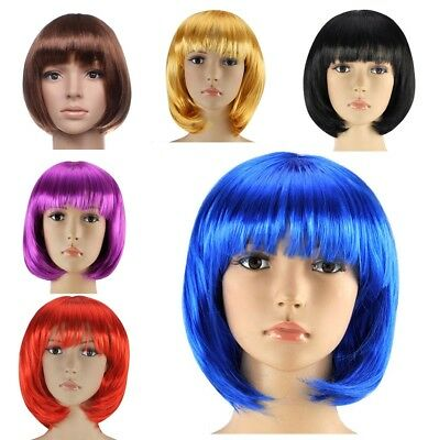 UK Womens Ladies Short Bob Wig Fancy Dress Cosplay Wigs Party Costume