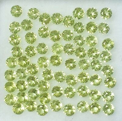 100 Pc Lot Natural Peridot 2 X 2 Mm Round Faceted Cut Loose Gemstones Calibrated