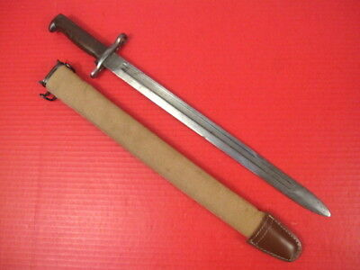 WWI AEF US ARMY M1905 Bayonet Marked SA 1918 w/M1910 Canvas Covered Scabbard