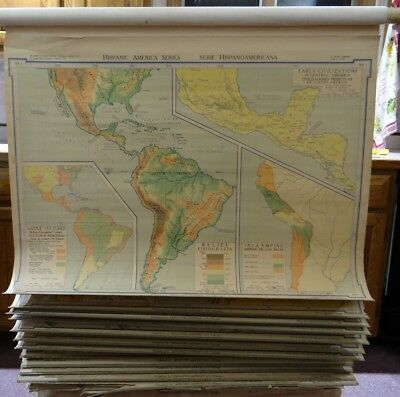 VINTAGE DENOYER-GEPPERT (SET OF 15-HISPANIC AMERICA SERIES) School/Classroom Map