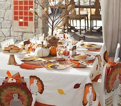NWT Pottery Barn Kids Thanksgiving tablecloth 70x90