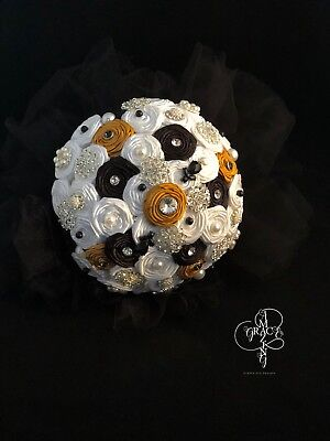 "Black Gold and White 10"" Rhinestone Brooch Bouquet with Tulle, Pearls and Beads"