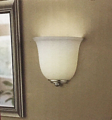 Battery Operated LED 3-Way Touch Dimmable Wall Sconce Light Frosted Glass NICKEL