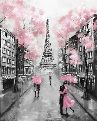 Paris Eiffel Tower Romantic Gorgeous Painting Canvas Print Home Decor Wall Art