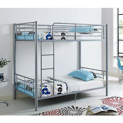 TWIN OVER TWIN Metal Bunk Double Deck Bed Frame Ladder Kids Edison ...