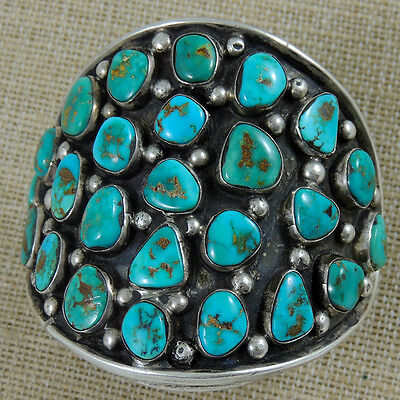 Important Best Navajo Natural Turquoise 25 Stone Bracelet Hand Constructd 142.5g