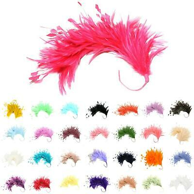 FM080 Feather Mount Hackle & stripped Coq - For fascinators, hats & craft use