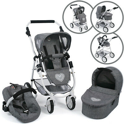 Bayer Chic 2000 Puppenwagen Emotion All In 3in1 (Jeans Grey)