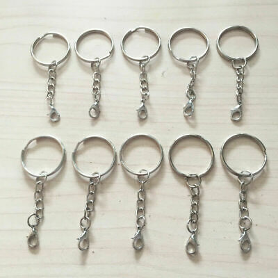 10/30/50/100pcs 25mm Split Keychain Findings Key Fob Ring with Lobster Clasp End