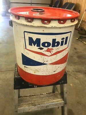 MOBIL PEGASUS MOBILGREASE MOTOR OIL 5 GALLON CAN GAS Add To Porcelain Sign