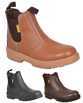 ed90f14c423 MENS SAFETY CHELSEA Dealer Ankle Boots Steel Toe Cap Midsole Leather Work  Shoes
