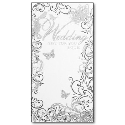 Wedding Gift For You Both Money Voucher Wallet Holder - Metallic Embossed Silver