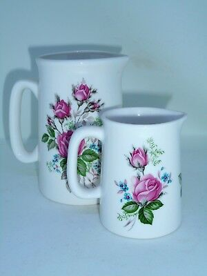 BN Fine Bone China Pair Vintage Floral Milk Jugs, Small Medium China Rose Jugs