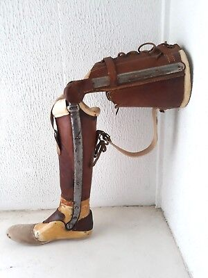 RARE antique medical prosthetic leg,leather and iron medical leg,artificial limb