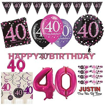 40th PINK Celebration Birthday Party Supplies Balloons Tableware & Decorations