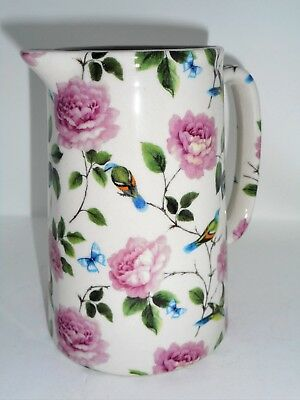 BN Cream Pottery Exotic Birds Floral Chintz Pint Pitcher Jug, Large  Milk Jug