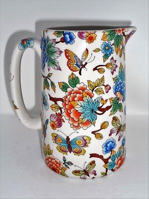 BN Cream Pottery Exotic Flowers and Butterflies Floral Style Pitcher Pint Jug