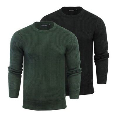 MENS JUMPER BRAVE Soul Quest Rope Knitted Crew Neck Sweater