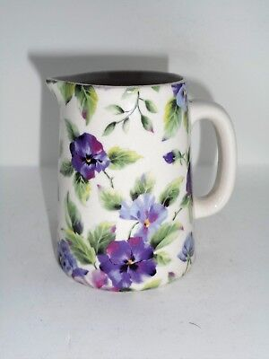 BN Cream Pottery Pansy Floral Chintz Style Pitcher Jug, Very Small Milk Jug