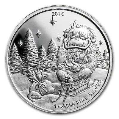 2016 Merry Christmas Abominable Snowman 1 oz .999 Silver USA Made Bullion Round