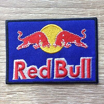 1x Red Bull Logo Embroidered Patch Iron On T-shirt Racing Sport 8 x 5.5 cm