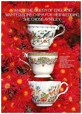 Queen of England Bone China Aynsley Teacups on Red 1970s Vintage Print Ad