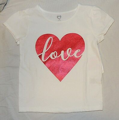 New Toddler Girls T Shirt Love Red White Valentines Day Sizes 2T 3T 4T