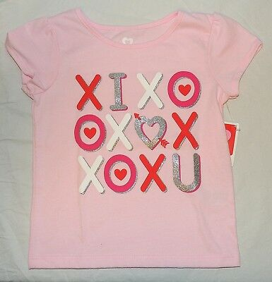 New Toddler Girls T Shirt I Love You Pink Valentines Day Sizes 2T 3T Tic Tac Toe