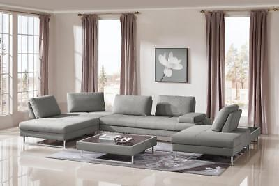 Divani Casa Baxter Modern Grey Fabric Sectional Sofa 2 Coffee Tables 3pcs Vig