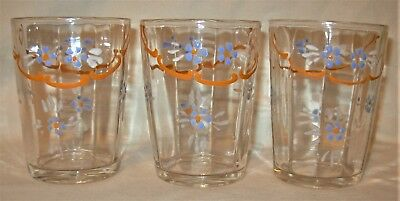 Antique Victorian Clear Glass Hand Painted Enamel Tumbler Set of 3