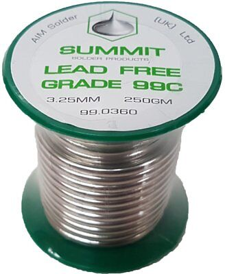 Summit Lead Free Soldering Wire grade 99c 3.25mm 250gm Lead Free Solder Real New