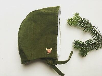 Handmade Winter Hat baby girlBonnet 3-6 Green Cord Hand Embroirdeted