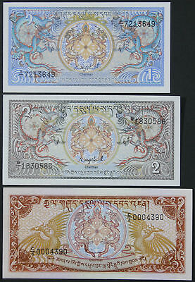 BHUTAN - Set of 3 Banknotes Notes - 1 2 5 Ngultrum 1986 - (UNC)