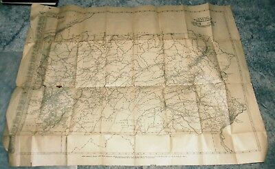 Old Rand McNally Black & White Mileage Map of Pennsylvania