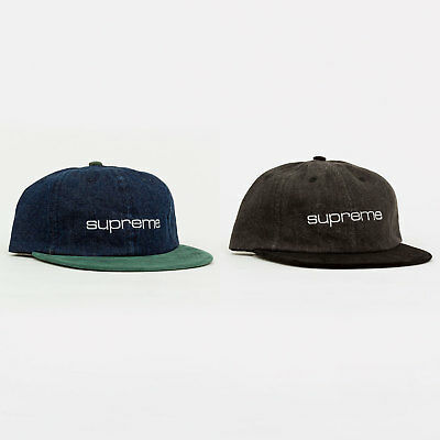 e7c72853e29 Supreme SS18 Denim Suede Compact Logo 6-Panel Cap hat camp tee box classic  logo