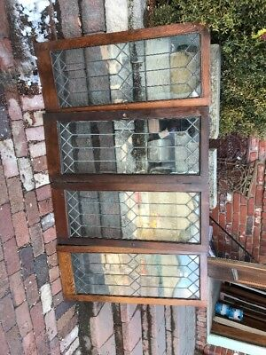 """Sg 2001 Set Of Four Matching Antique Leaded Glass Bookcase Doors 18"""" X 41.75"""