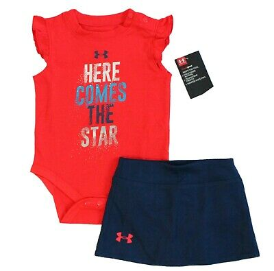2-Pc Set Under Armour Baby Girls Here Comes The Star Skirt Bodysuit July 4th Red
