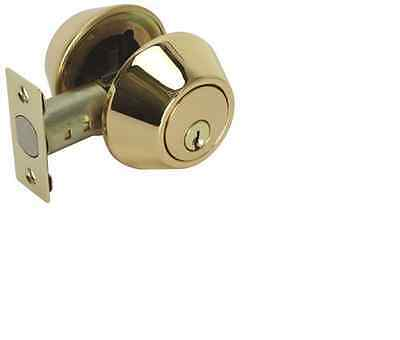 "New Polished Brass Double Cylinder Deadbolt Door Lock Set 1"" LATCH KW1 Keyway"