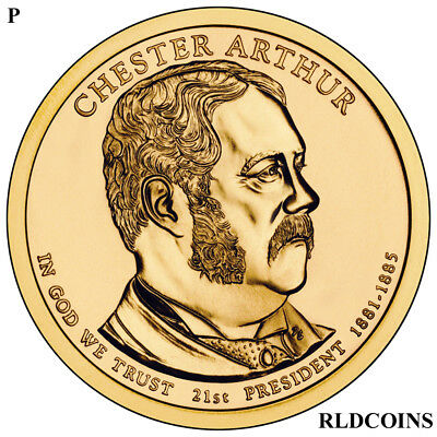 2012 P President Chester Arthur Uncirculated Presidential Dollar  21P