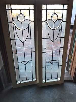 SG 2006 match Pair antique beveled leaded sidelight window tulip  16.75 X 47