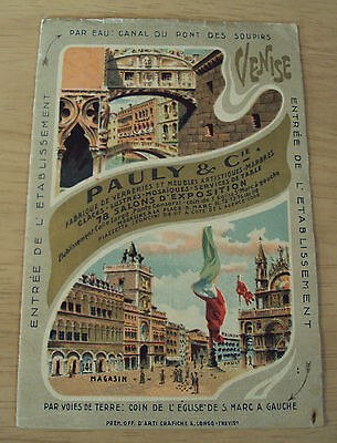 "Circa 1910 ADVERTISING/Travel Brochure~""PAULY & Co""~Furnishings~MAP Venise ITALY"