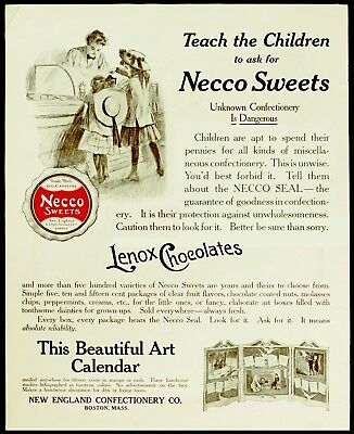 1909 NECCO SWEETS & LENOX CHOCOLATES Kids Buying Candy at Country Store Vtg AD