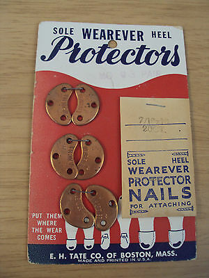 "RARE 1950's Merchandise Card~Sole/Heel ""WEAREVER PROTECTORS""~Shoes~TATE Co~"