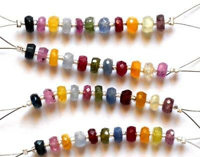 Multi Sapphire Faceted Rondelle Gemstone Beads 4 - 4.5 Mm 11 Pcs#260