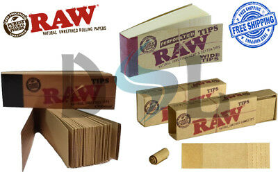 Genuine RAW Rolling Paper Roach Filter Tips Original Gummed Perforated Wide Tip